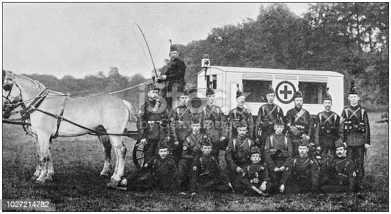 Navy and Army antique historical photographs: Ambulance, Wiltshire