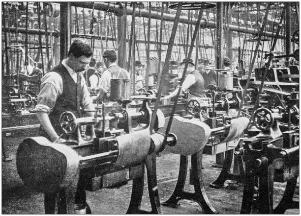 Navy and Army antique historical photographs: Industrial construction of rifles Navy and Army antique historical photographs: Industrial construction of rifles 20th century history stock pictures, royalty-free photos & images