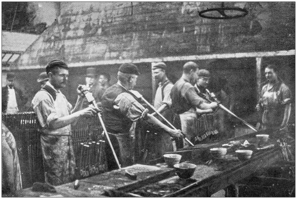 Navy and Army antique historical photographs: Industrial construction of rifles Navy and Army antique historical photographs: Industrial construction of rifles 1900 stock pictures, royalty-free photos & images
