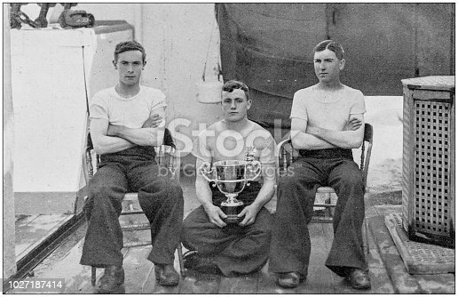 Navy and Army antique historical photographs: Military game winners