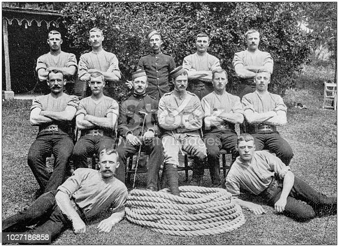 Navy and Army antique historical photographs: Tug of war team