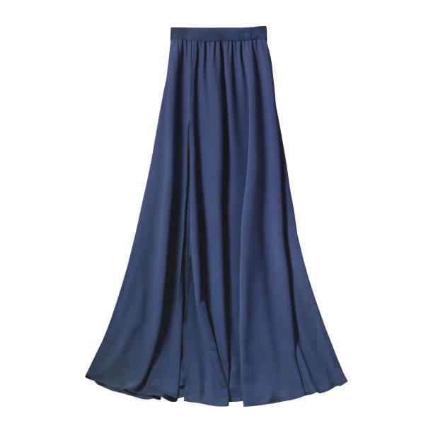 navy blue airy subtle long elegant maxi skirt isolated white - spódnica zdjęcia i obrazy z banku zdjęć
