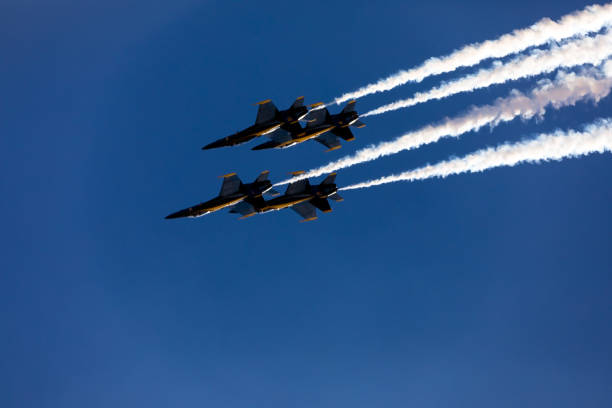 Us Navy Blue Angels 14 In A Delta Formation From Below In