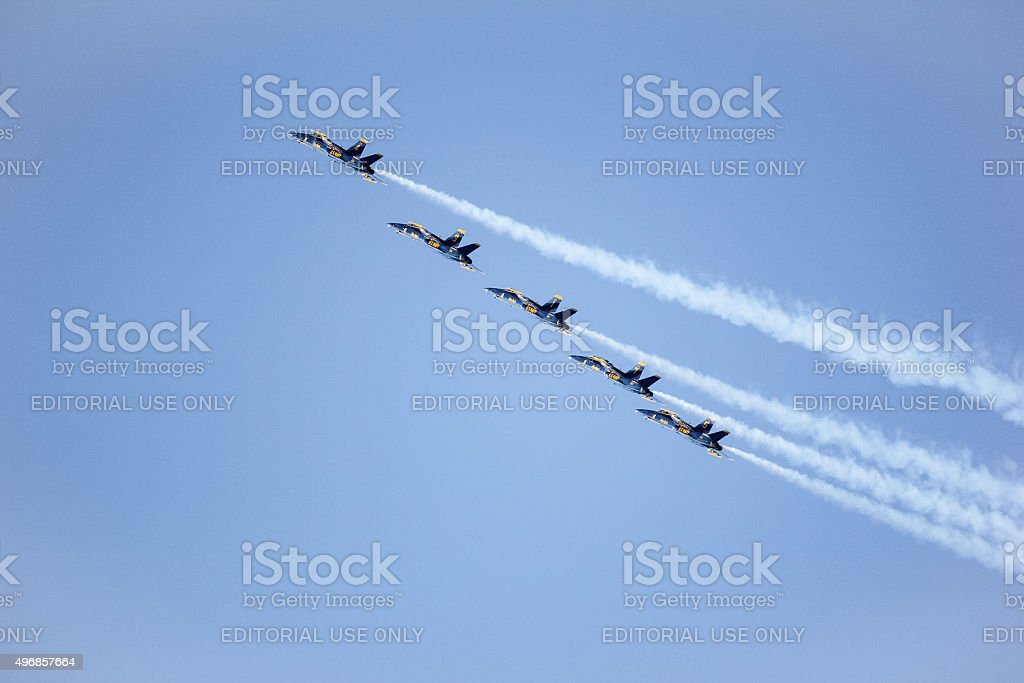 Navy Blue Angels during the show in SF Fleet Week stock photo