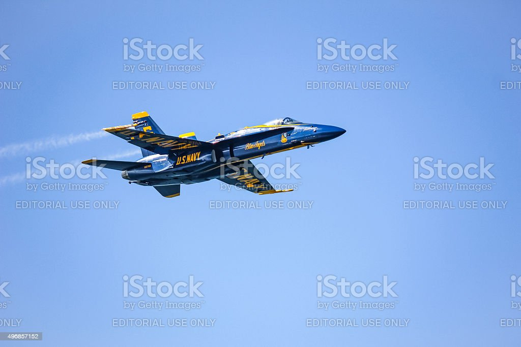 Navy Blue Angels during the show. stock photo