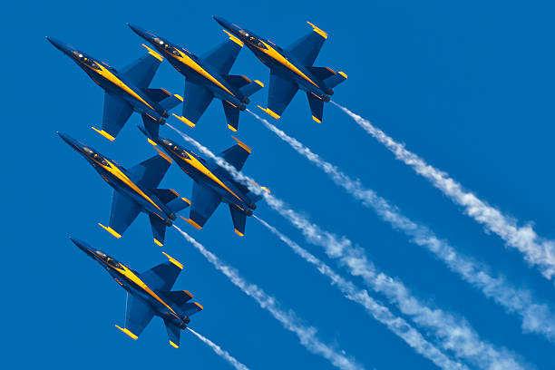 us navy blue angels flying in formation - sonic boom stock photos and pictures