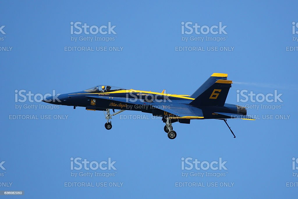 Navy Blue Angels Opposing Solo Slow Fly-By stock photo