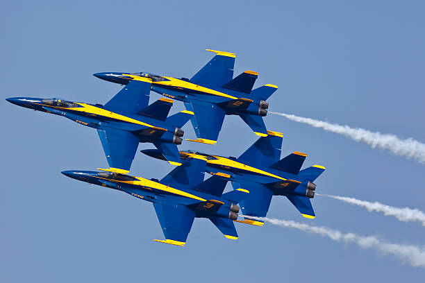us navy blue angels performing demo routine - sonic boom stock photos and pictures