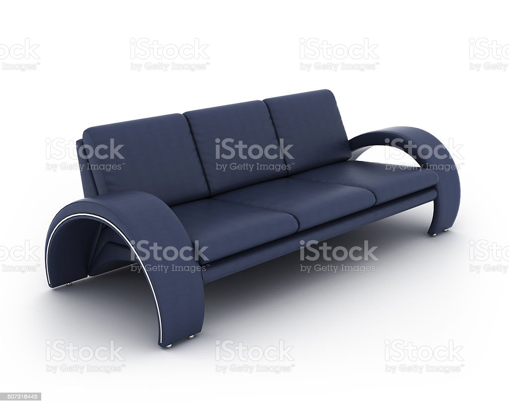 Navy Blue Leather Couch Stock Photo & More Pictures of Clip Art - iStock