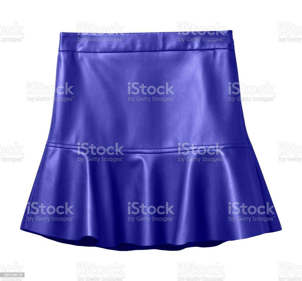 Navy blue leather skirt with flounce isolated on white stock photo