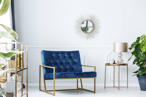 Navy blue living room stock photo