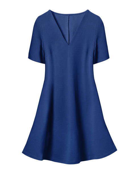 navy blue retro dress with short sleeves isolated on white - sukienka zdjęcia i obrazy z banku zdjęć
