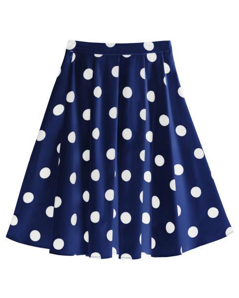 navy blue silk satin dotted skirt isolated on white - spódnica zdjęcia i obrazy z banku zdjęć