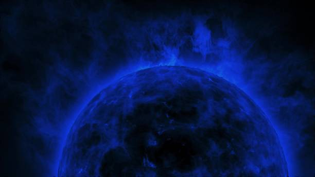 Navy blue sun surface with heat solar waves and flames stock photo