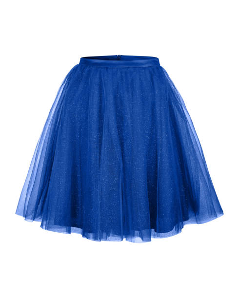 dunkelblaue ballerina tüllrock isoliert auf weiss - tüllkleid stock-fotos und bilder