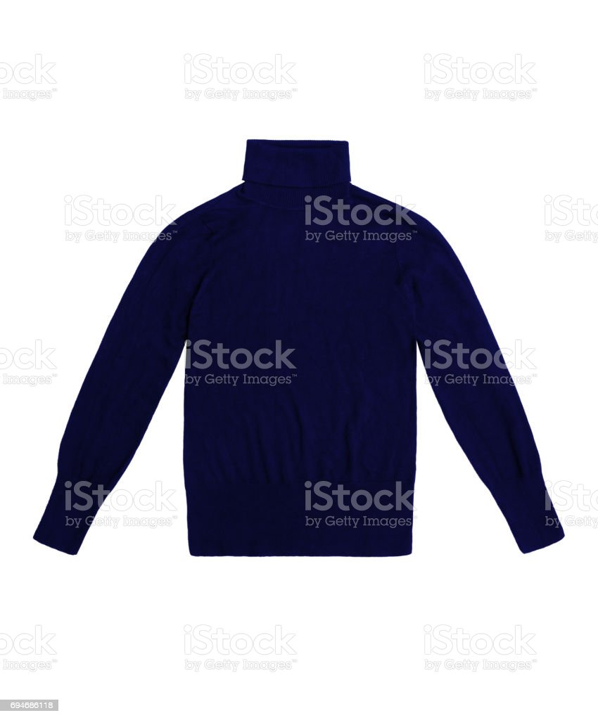 navy blue turtleneck pullover, isolated on white background stock photo