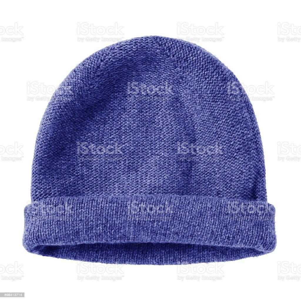 Hiver de ver bleu marine en laine chapeau bonnet plat isolé sur blanc - Photo