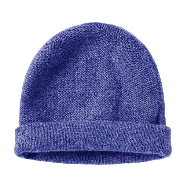 Navy blue worm winter woolen hat cap flat isolated on white stock photo