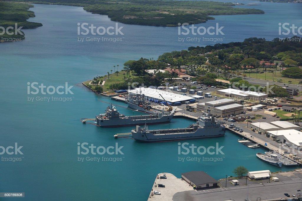 Navy Boats docked in Pearl Harbor stock photo