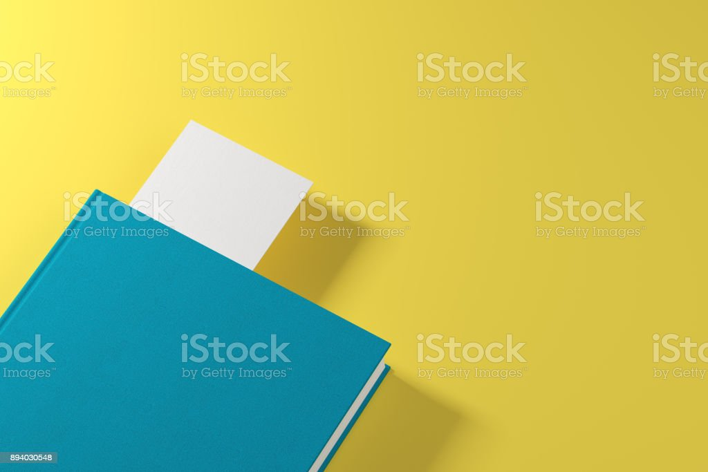 Navy book with white bookmark stock photo