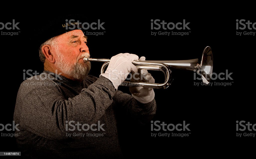 US Navy bugle player royalty-free stock photo