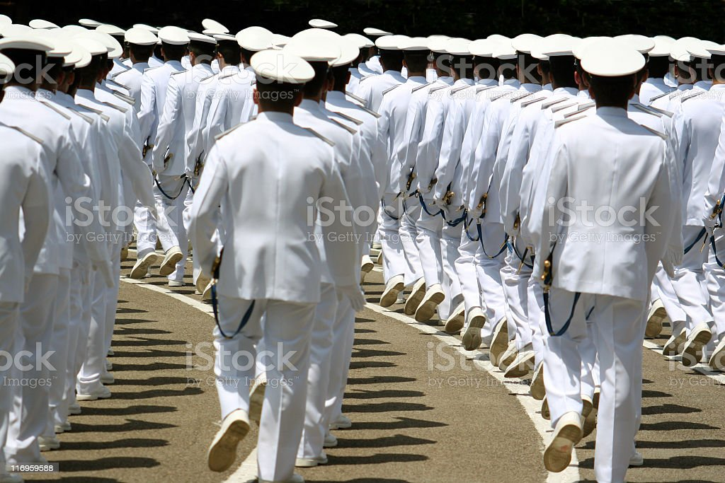 Navy cadets marching royalty-free stock photo