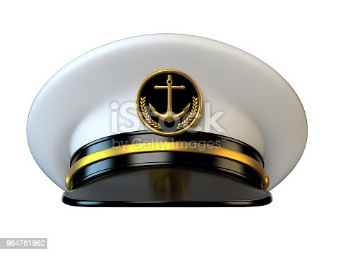 Navy cap, ship officer, admiral, sailor, naval captain hat  3d rendering