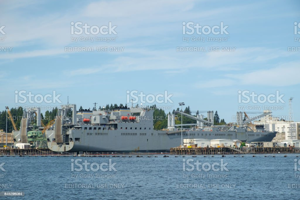 US Navy cargo ship stock photo