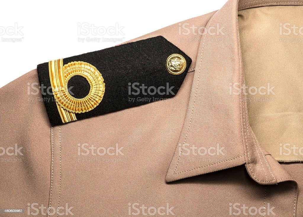 Navy epaulet rank sign in uniform stok fotoğrafı