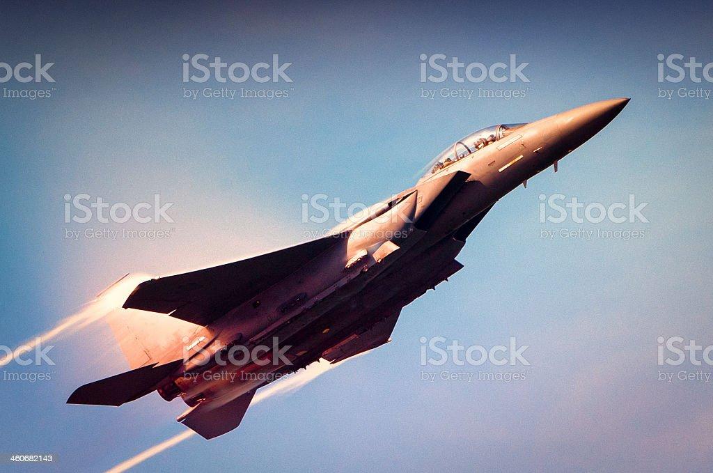 Navy F-18 Super Hornet flying upward stock photo
