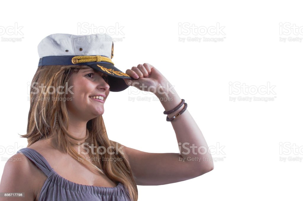 Marine Kopfbedeckungen. Attraktive brave Mädchen mit Grübchen und marine Mütze. – Foto