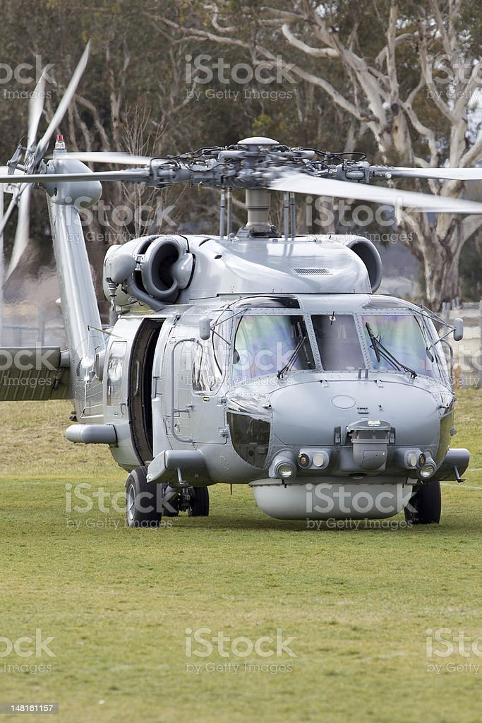 Navy Helicopter about to take off stock photo