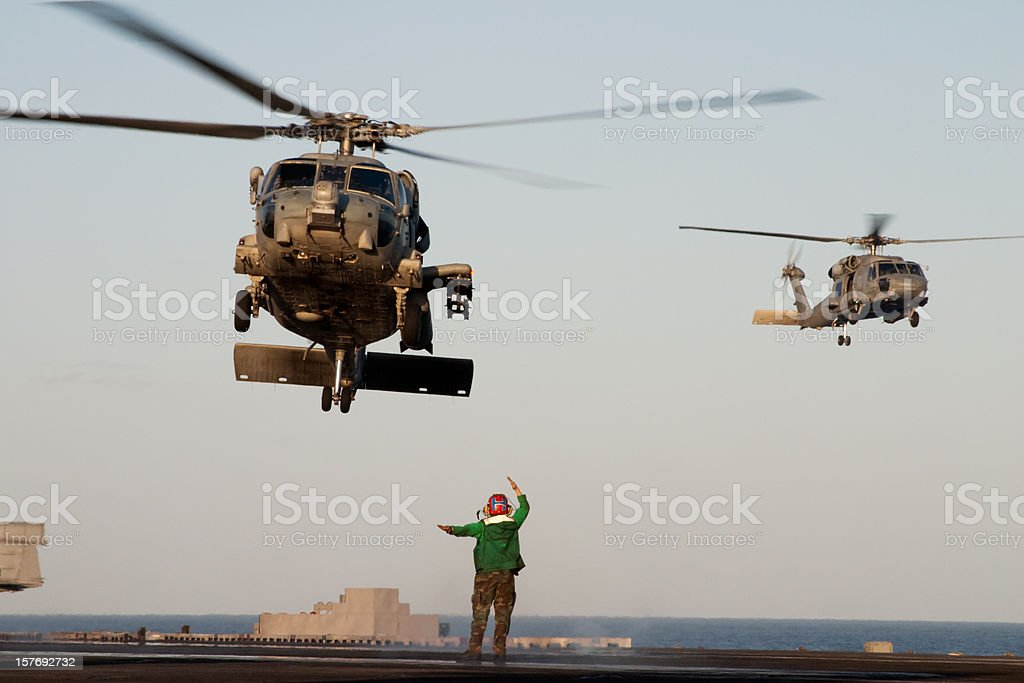 Navy Helicopters Landing stock photo