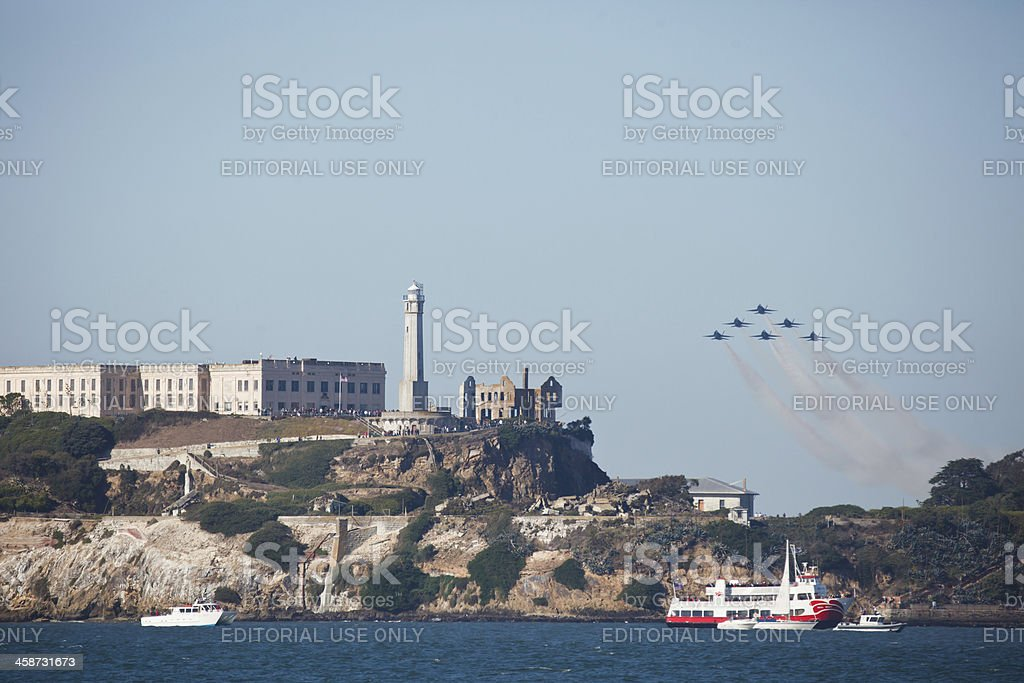 Navy jets Formation during Fleet Week air show San Francisco royalty-free stock photo