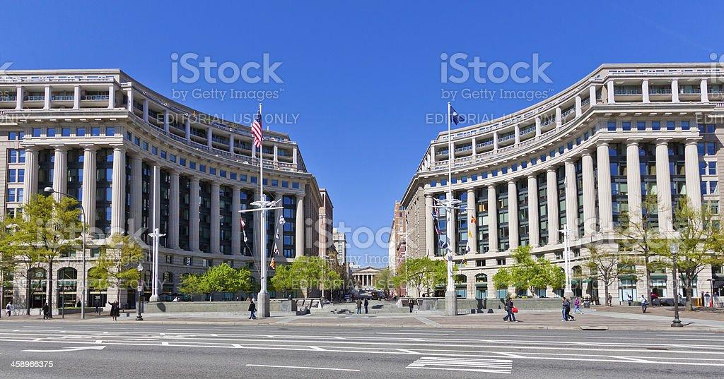 US Navy Memorial, Washington DC. Clear blue sky. royalty-free stock photo