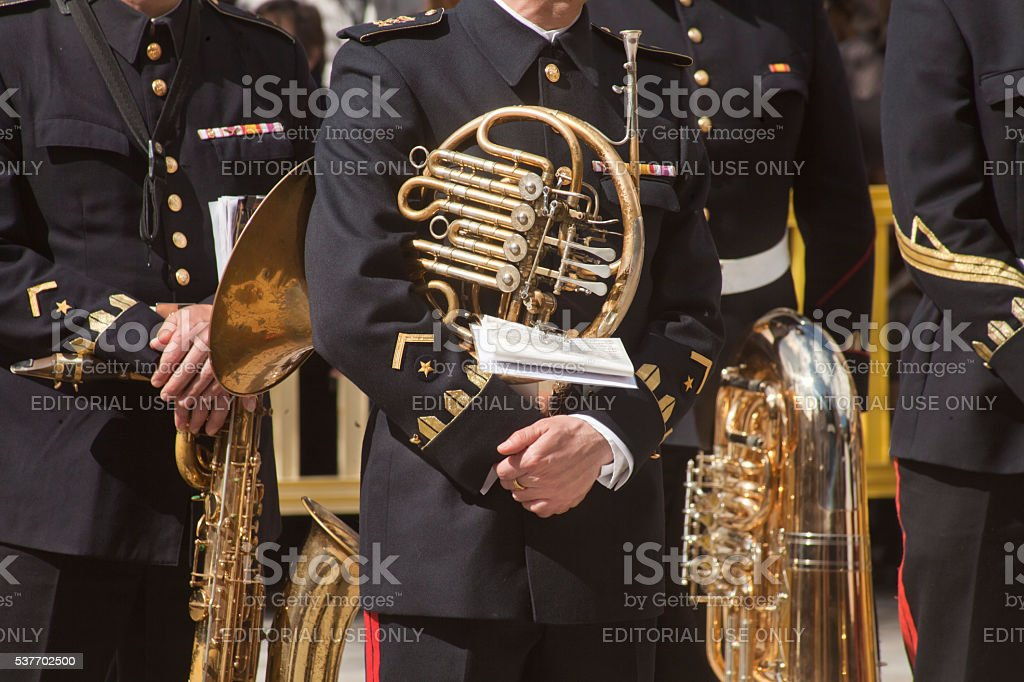 Navy military men music band, horn and tuba resting. stock photo