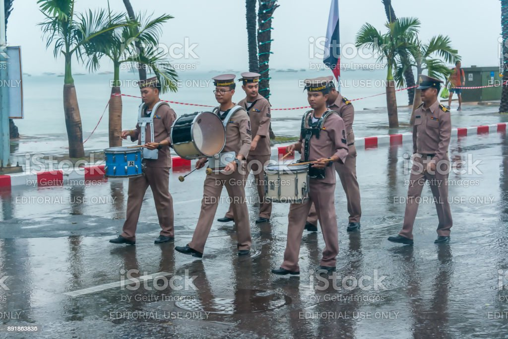 Navy parade marching drill during raining in International Fleet Review 2017 stock photo