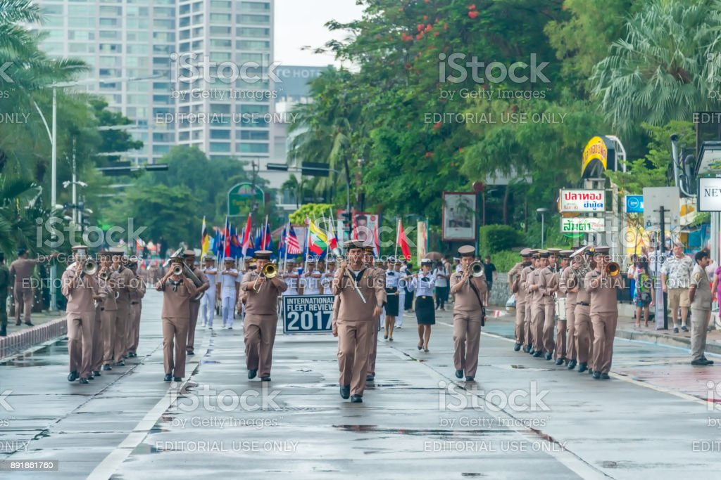 Navy parade marching drill in International Fleet Review 2017 stock photo