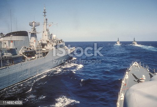 A groupe of frigates in a military maneuver