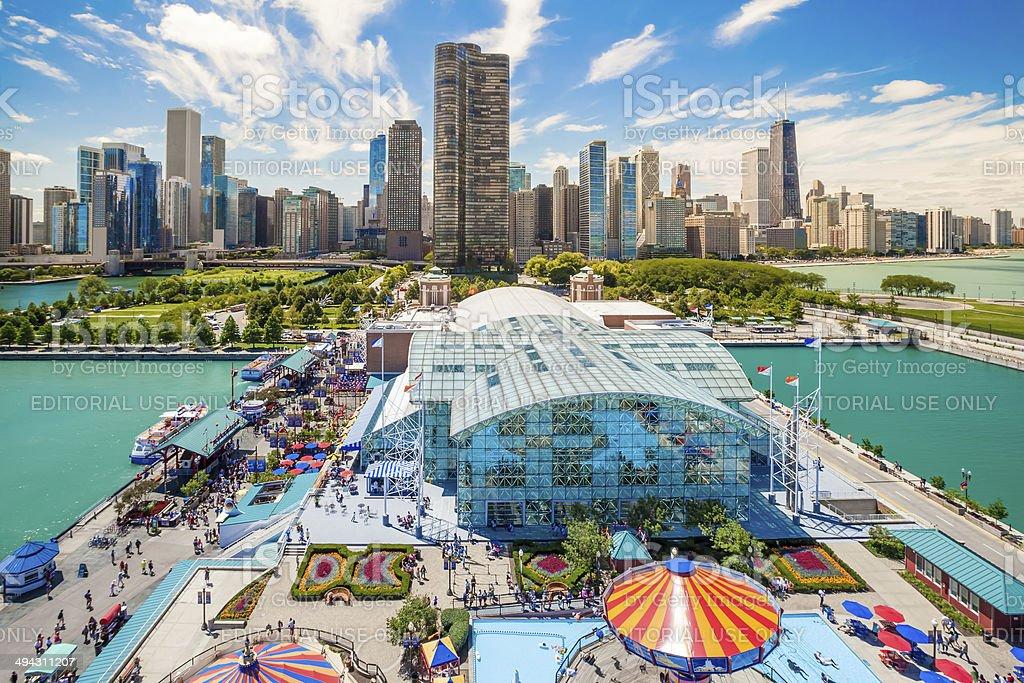 Navy Pier in Chicago stock photo
