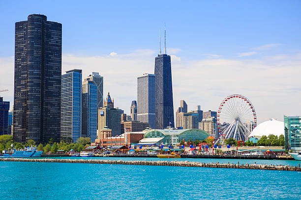 navy pier y el parque paisaje de la ciudad de chicago - edificio hancock chicago fotografías e imágenes de stock