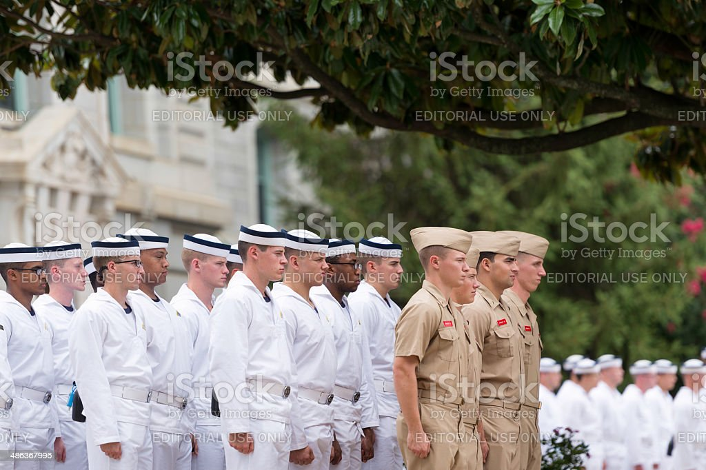 Navy plebes at Noon Formation stock photo