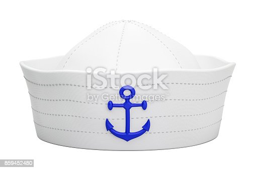 istock Navy sailor hat with anchor, 3D rendering isolated on white background 859452480