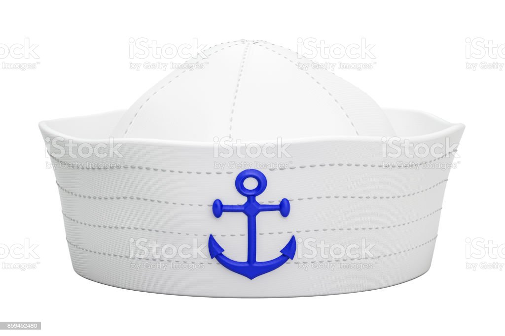 Navy sailor hat with anchor, 3D rendering isolated on white background stock photo