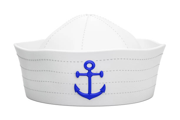 Navy sailor hat with anchor, 3D rendering isolated on white background Navy sailor hat with anchor, 3D rendering isolated on white background sailor stock pictures, royalty-free photos & images