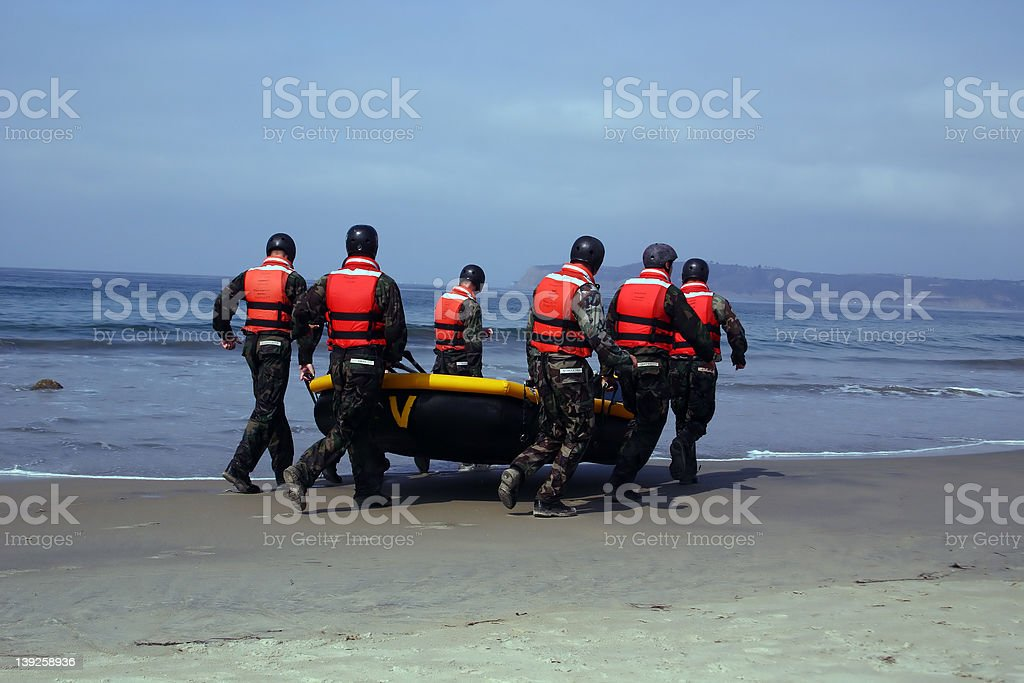 US Navy SEALS in Training stock photo