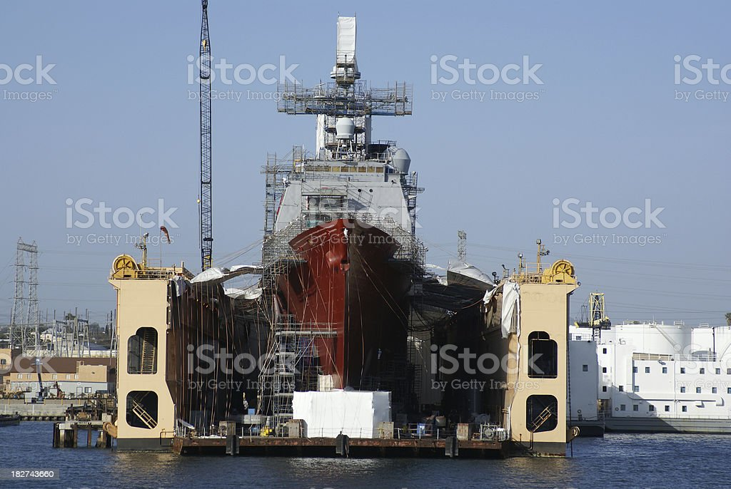 US Navy warship in dry dock stock photo