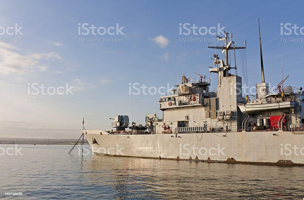 Navy warship stock photo