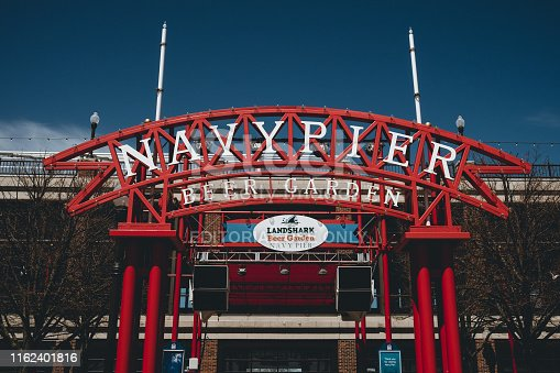 Photography of the Navy's pier sign, an iconic part of the Chicago.