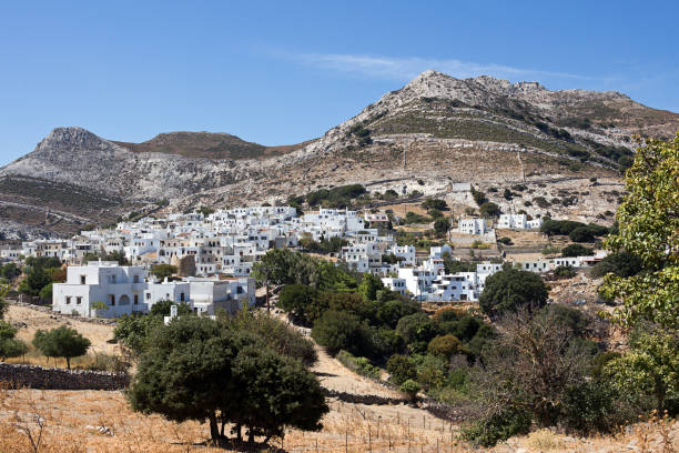 Naxos - Apeiranthos, scenic view of a mountainous village in the aegean island  - Cyclades Greece stock photo